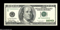 Error Notes:Blank Reverse (100%), Fr. 2175-B $100 1996 Federal Reserve Note. About Uncirculated....