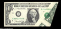 Error Notes:Foldovers, Fr. 1908-D $1 1974 Federal Reserve Note. About Uncirculated....