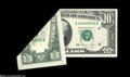 Error Notes:Foldovers, Fr. 2025-D $10 1981 Federal Reserve Note. About Uncirculated....