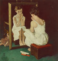 Paintings, Norman Rockwell (American, 1894-1978). Girl at Mirror, The Saturday Evening Post cover study, 1954. Oil on photographic ...