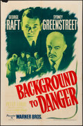 "Movie Posters:Drama, Background to Danger (Warner Bros., 1943). Folded, Fine/Very Fine. One Sheet (27"" X 41""). Drama.. ..."