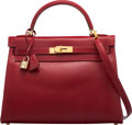 """Luxury Accessories:Bags, Hermès 32cm Rouge Vif Calf Box Leather Retourne Kelly Bag with Gold Hardware. F Square, 2002. Condition: 3. 12.5"""" ..."""