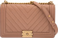 """Luxury Accessories:Bags, Chanel Beige Caviar Leather Chevron Medium Boy Bag with Aged Gold Hardware. Condition: 1. 11"""" Width x 7"""" Height x 3.5""""..."""
