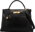 """Luxury Accessories:Bags, Hermès 32cm Black Calf Box Leather Retourne Kelly Bag with Gold Hardware. O Circle, 1985. Condition: 2. 12.5"""" Widt..."""