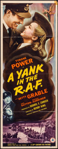 "Movie Posters:War, A Yank in the R.A.F. (20th Century Fox, 1941). Folded, Fine/Very Fine. Insert (14"" X 36""). War.. ..."