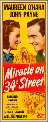 """Miracle on 34th Street (20th Century Fox, 1947). Folded, Very Fine-. Insert (14"""" X 36""""). Comedy"""