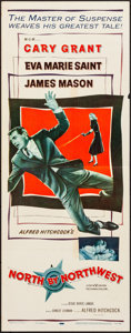 """Movie Posters:Hitchcock, North by Northwest (MGM, 1959). Folded, Fine/Very Fine. Insert (14"""" X 36""""). Hitchcock.. ..."""