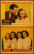 "Movie Posters:Romance, Four Daughters & Other Lot (Warner Brothers, 1938). Very Fine-. Linen Finish Lobby Cards (2) (11"" X 14""). Romance.. ... (Total: 2 Items)"