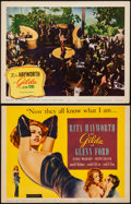 "Movie Posters:Film Noir, Gilda (Columbia, R-1959). Fine+. Trimmed Title Lobby Card (10.5"" X14"") & Lobby Card (11"" X 14""). Film Noir.. ... (Total: 2 Items)"