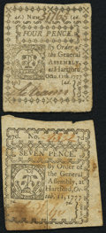 Colonial Notes:Connecticut, Connecticut October 11, 1777 4d Fine-Very Fine;. Connecticut October 11, 1777 7d Very Fine-Extremely Fine.. ... (Total: 2 notes)