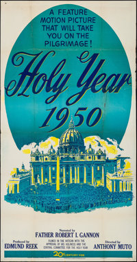 "The Holy Year at the Vatican & Other Lot (20th Century Fox, 1950). Folded, Fine+. Three Sheet (41"" X 79&quo..."