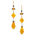 Estate Jewelry:Earrings, Colored Diamond, Diamond, Amber, Gold Earrings. ...