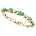 Estate Jewelry:Bracelets, Jadeite Jade, Diamond, Gold Bracelet . ...