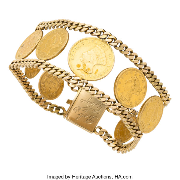 Gold Coin Bracelet Estate Jewelry