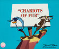 """Animation Art:Limited Edition Cel, """"Chariots of Fur"""" Road Runner and Wile E. Coyote Limited Edition Cel #474/500 (Warner Brothers, 1995)...."""