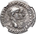 Ancients:Roman Imperial, Ancients: Nero (AD 54-68), with Agrippina Junior (Augusta, AD50-59). AR denarius (19mm, 3.58 gm, 4h). NGC Choice VF 4/5 - 2/5,edge mar...