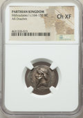 Ancients:Oriental, Ancients: PARTHIAN KINGDOM. Mithradates I (ca. 164-132 BC). AR drachm (21mm, 12h). NGC Choice XF....