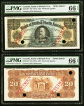 Canadian Currency, Montreal, PQ- Bank of British North America $20 3.7.1911 Ch.#55-24-10 Face and Back Specimen PMG Gem Uncirculated 66 EPQ ...(Total: 2 notes)