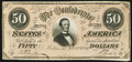 Confederate Notes:1864 Issues, For Begisteb - For Treasubeb Error T66 $50 1864 PF-20 About Uncirculated.. ...