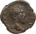 Ancients:Roman Imperial, Ancients: Divus Lucius Verus (AD 161-169). AE sestertius (32mm,21.82 gm, 7h). NGC Choice XF 4/5 - 5/5, Fine Style....