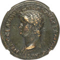 Ancients:Roman Imperial, Ancients: Nero (AD 54-68). AE sestertius (35mm, 28.36 gm, 7h). NGC Choice VF 5/5 - 3/5, Fine Style, scuff....