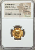 Ancients:Roman Imperial, Ancients: Titus, as Augustus (AD 79-81). AV aureus (19mm, 7.07 gm, 6h). NGC Fine 5/5 - 3/5, edge marks....