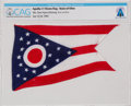 Explorers:Space Exploration, Apollo 11 Flown Flag of Neil Armstrong's Home State of Ohio Directly From The Armstrong Family Collection™, CAG Certified....