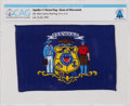 Explorers:Space Exploration, Apollo 11 Flown Flag of the State of Wisconsin Directly from The Armstrong Family Collection™, CAG Certified. ...