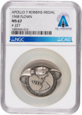 Explorers:Space Exploration, Apollo 7 Flown MS67 NGC Sterling Silver Robbins Medallion, Serial Number 227, Directly From The Armstrong Family Collection™, ...
