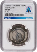 Explorers:Space Exploration, Apollo 12 Flown MS67 NGC Sterling Silver Robbins Medallion, Serial Number 183, Directly From The Armstrong Family Collection™,...