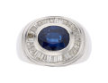 Estate Jewelry:Rings, Sapphire, Diamond, White Gold Ring  The ring c...