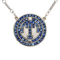 Estate Jewelry:Necklaces, Art Deco Sapphire, Platinum-Topped Gold, White Gold Necklace. ...