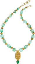 Estate Jewelry:Necklaces, Emerald, Beryl, Diamond, Gold Necklace . ...