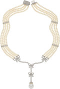 Estate Jewelry:Necklaces, South Sea Cultured Pearl, Cultured Pearl, Diamond, White GoldNecklace . ...