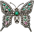 Estate Jewelry:Brooches - Pins, Diamond, Emerald, Ruby, Silver-Topped Gold Brooch. ...