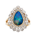 Estate Jewelry:Rings, Black Opal, Diamond, Gold Ring The ring featur...