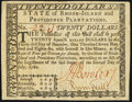 Colonial Notes:Rhode Island, Rhode Island July 2, 1780 $20 Very Fine-Extremely Fine.. ...