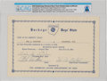 Explorers:Space Exploration, Neil Armstrong's Buckeye Boys' 1946 State Membership Certificate Directly From The Armstrong Family Collection™, CAG Certified...