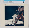 """Explorers:Space Exploration, Apollo 11: Original NASA """"Red Number"""" Buzz Aldrin Descending From the Lunar Module, July 20, 1969, Color Photo Directly From T..."""