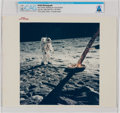 """Explorers:Space Exploration, Apollo 11: Original NASA """"Red Number"""" Buzz Aldrin Walking on the Lunar Surface, July 20, 1969, Color Photo Directly From The A..."""