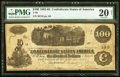 Confederate Notes:1862 Issues, Issued at Little Rock, AR T40 $100 1862 Poem on Back PMG Very Fine 20 Net.. ...