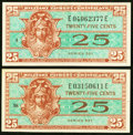 Military Payment Certificates:Series 521, Series 521 25¢ First Printing Two Examples Gem New; XF-About New..... (Total: 2 notes)