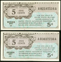 Military Payment Certificates:Series 461, Series 461 5¢ Two Examples Gem New; XF.. ... (Total: 2 notes)