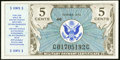 Military Payment Certificates:Series 472, Series 472 5¢ First Printing Choice New.. ...