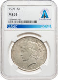 Explorers:Space Exploration, Neil Armstrong Coin Collection: 1922 $1 MS63 NGC Peace Silver Dollar Directly From The Armstrong Family Collection™, CAG Certi...