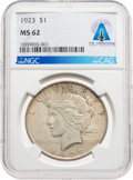 Explorers:Space Exploration, Neil Armstrong Coin Collection: 1923 $1 MS62 NGC Peace Silver Dollar Directly From The Armstrong Family Collection™, CAG Certi...