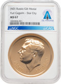 "Explorers:Space Exploration, Russia: U.S.S.R. ""Yuri Gagarin"" Gold ""Star City"" Medal MS67 NGC From The Armstrong Family Collection™, CAG Certified...."