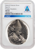 Explorers:Space Exploration, Giant Leap World Tour, 10/16: Pope Paul VI (1963-1978) Anno VI Silver Medallion, MS66 NGC, Directly From The Armstrong Family ...