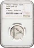 Explorers:Space Exploration, Apollo 9 Flown MS67 NGC Silver Robbins Medallion, Serial Number 63, Directly from the Personal Collection of Mission Lunar Mod...