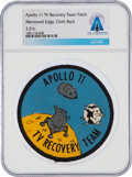 Explorers:Space Exploration, Apollo 11: Neil Armstrong's TV Recovery Team Merrowed Edge Patch From The Armstrong Family Collection™, CAG Certified....
